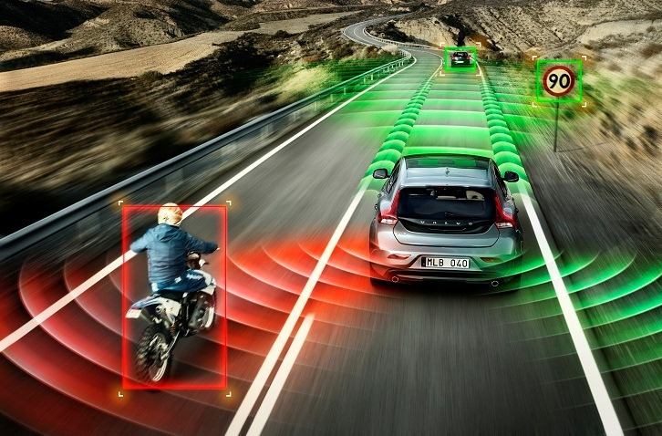 Autonomous Volvo and Motorcyclist